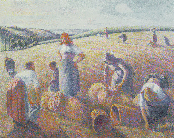 BAL9982 The Gleaners, 1889 (oil on canvas) by Pissarro, Camille (1830-1903); 65.5x81 cm; Dreyfus Foundation, Kunstmuseum, Basel, Switzerland; (add.info.: Les Moissonneuses; Les Glaneuses;); French, out of copyright