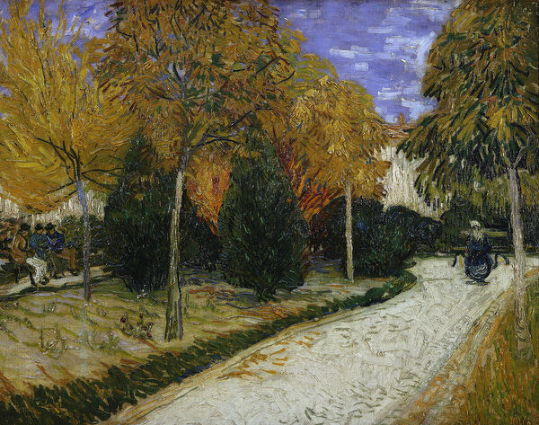 XIR9974 Path in the Park at Arles, 1888 (oil on canvas) by Gogh, Vincent van (1853-90); 72x93 cm; Private Collection; (add.info.: Jardin Automnal dit aussi Le Parc Public;); Dutch, out of copyright