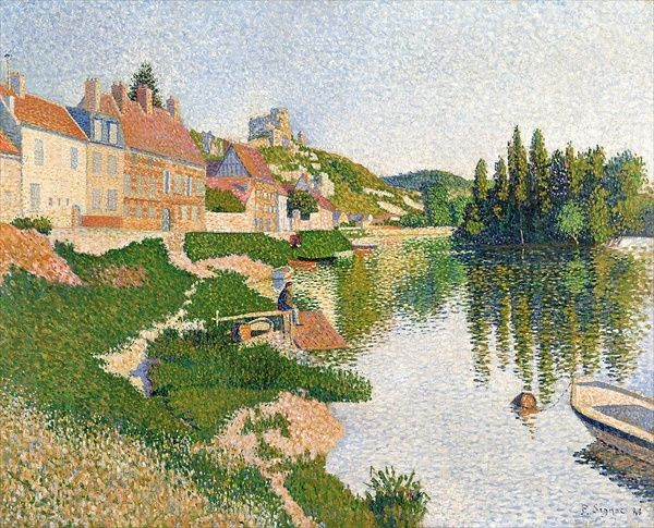 XIR9983 The River Bank, Petit-Andely, 1886 (oil on canvas) by Signac, Paul (1863-1935); 65x81 cm; Musee d'Orsay, Paris, France; French, out of copyright