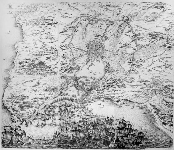 XIR3050331 Siege of La Rochelle (engraving) by Callot, Jacques (1592-1635); Musee des Plans et Reliefs, Paris, France; (add
