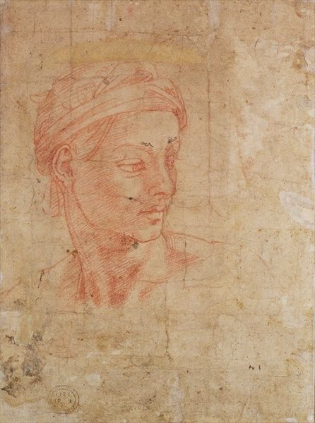 BAL42709 Study of a Head (red chalk on paper) by Buonarroti, Michelangelo (1475-1564); British Museum, London, UK; (add.info.: Inv.1926/10/9/1 (W.11)); Italian, out of copyright