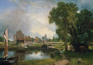 Dedham Lock and Mill, 1820 (oil on canvas)