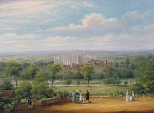 Eton College from the terrace of Windsor Castle (oil on canvas)