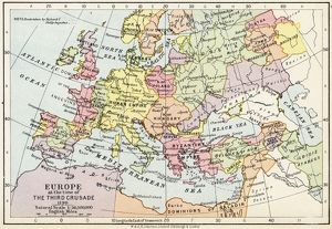 Map of Europe at the time of the Third Crusade, 1190, from 'Historical Atlas&#39