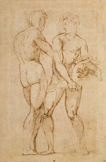 Two Nude Men Standing, one holding a lamb (ink on paper)