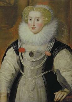 Portrait of an Elizabethan Lady with a Parrot (oil on canvas)